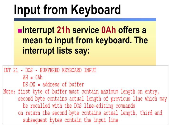 Input from Keyboard