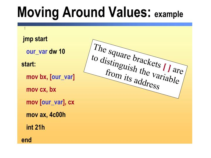 Moving Around Values: