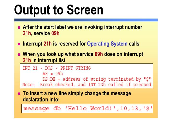 Output to Screen