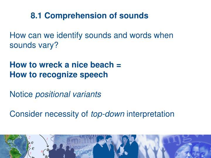 8.1 Comprehension of sounds