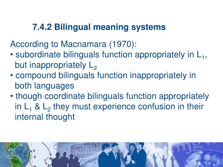 7.4.2 Bilingual meaning systems