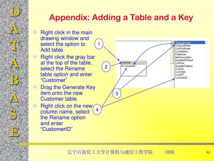 Appendix: Adding a Table and a Key