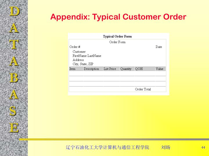 Appendix: Typical Customer Order