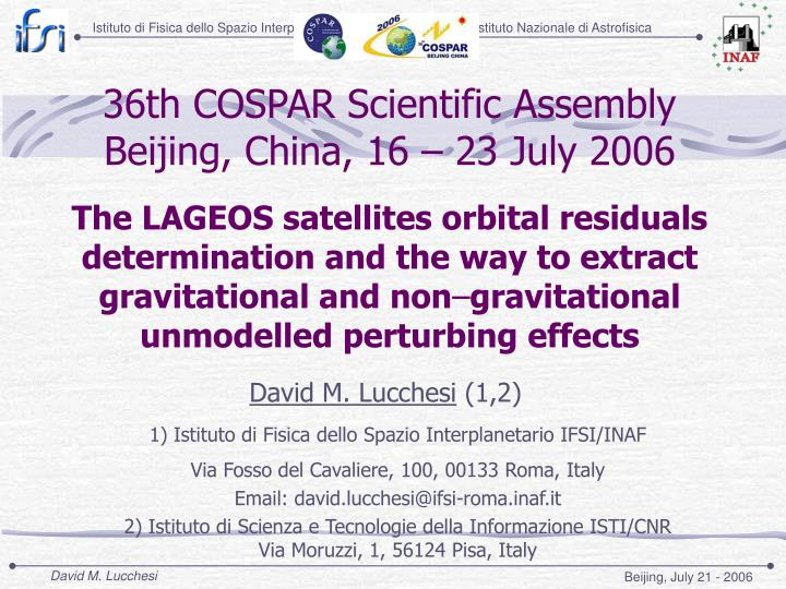 36th cospar scientific assembly beijing china 16 23 july 2006 n.