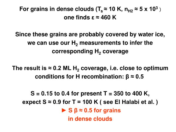 For grains in dense clouds (T