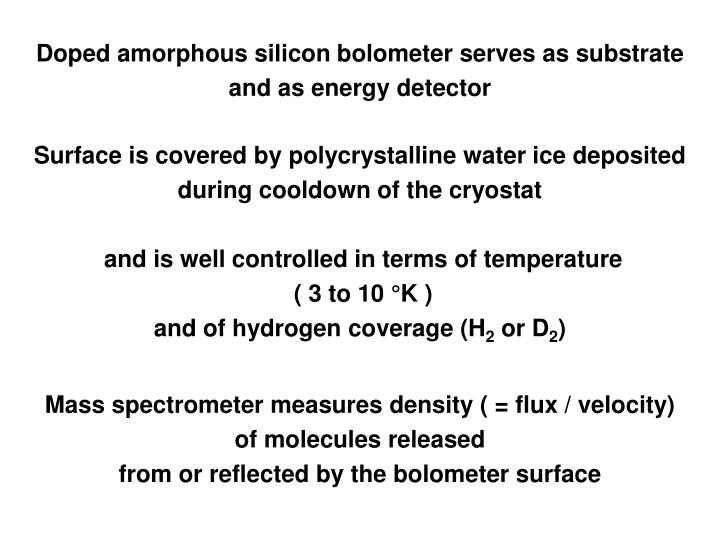 Doped amorphous silicon bolometer serves as substrate
