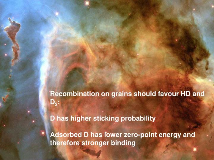 Recombination on grains should favour HD and