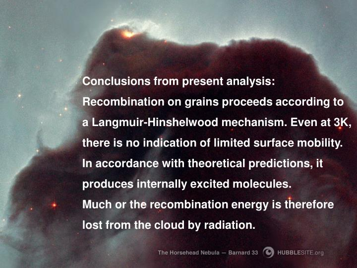 Conclusions from present analysis: