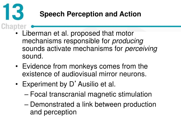 Speech Perception and Action