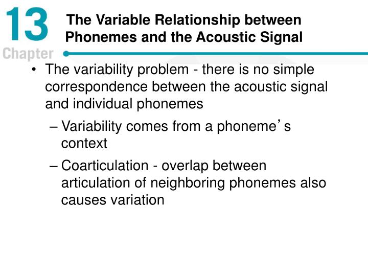 The Variable Relationship between Phonemes and the Acoustic Signal