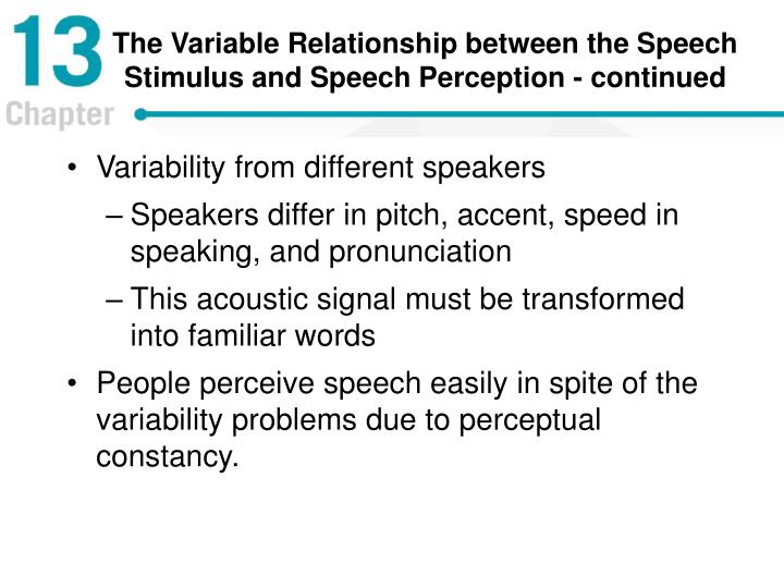 The Variable Relationship between the Speech Stimulus and Speech Perception - continued