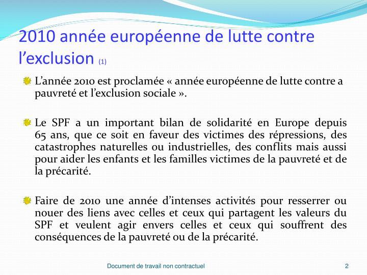 2010 ann e europ enne de lutte contre l exclusion 1