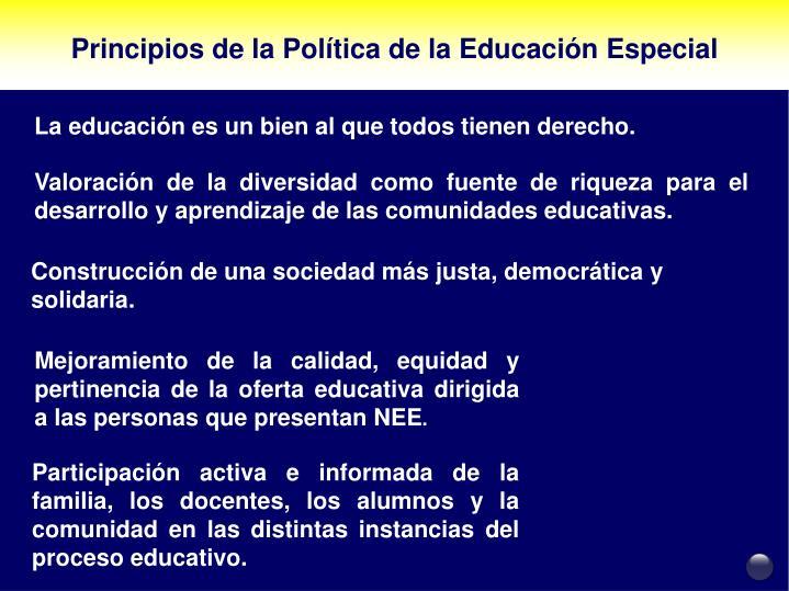 Principios de la Política de la Educación Especial
