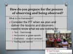 how do you prepare for the process of observing and being observed