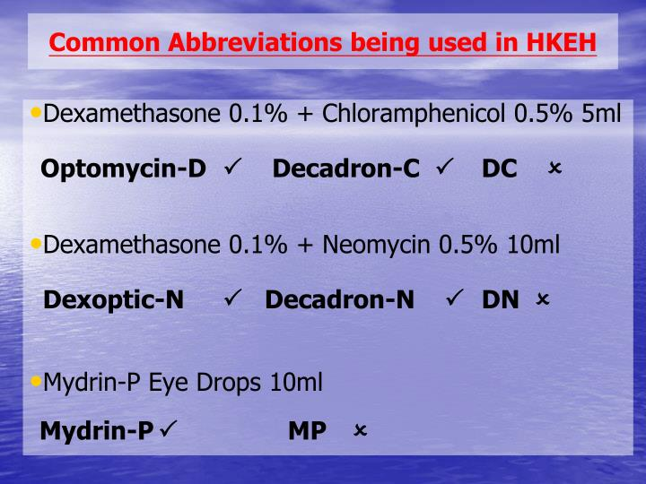 Common Abbreviations being used in HKEH