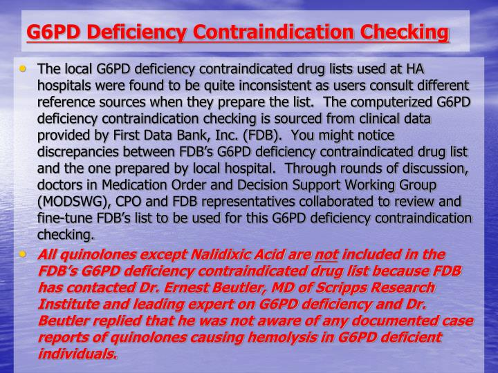 G6PD Deficiency Contraindication Checking