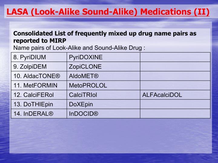 LASA (Look-Alike Sound-Alike) Medications (II)