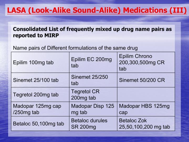 LASA (Look-Alike Sound-Alike) Medications (III)