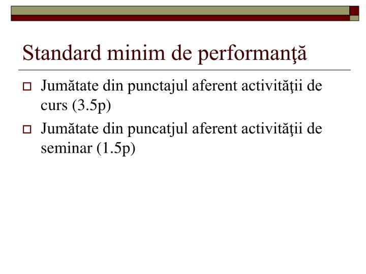 Standard minim de performanţă