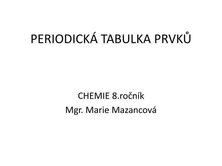 Periodick tabulka prvk