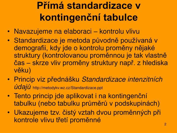P m standardizace v kontingen n tabulce