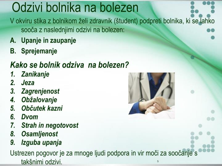 Odzivi bolnika na bolezen