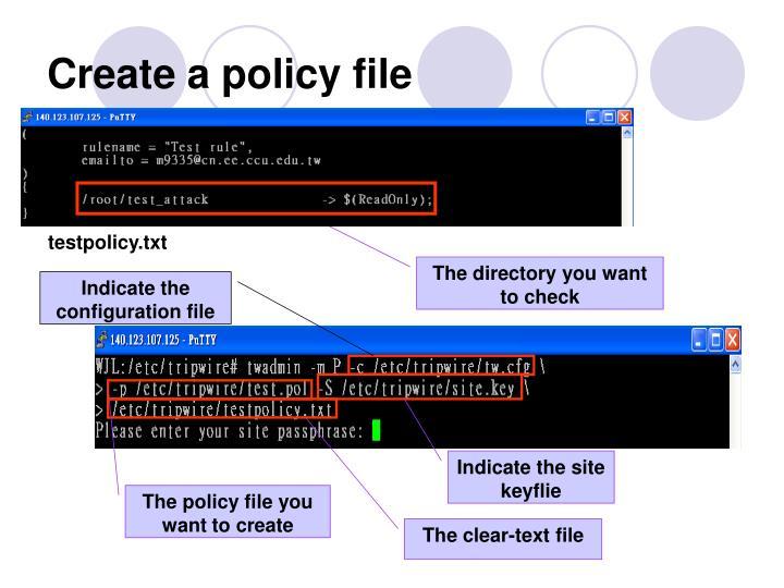 Create a policy file