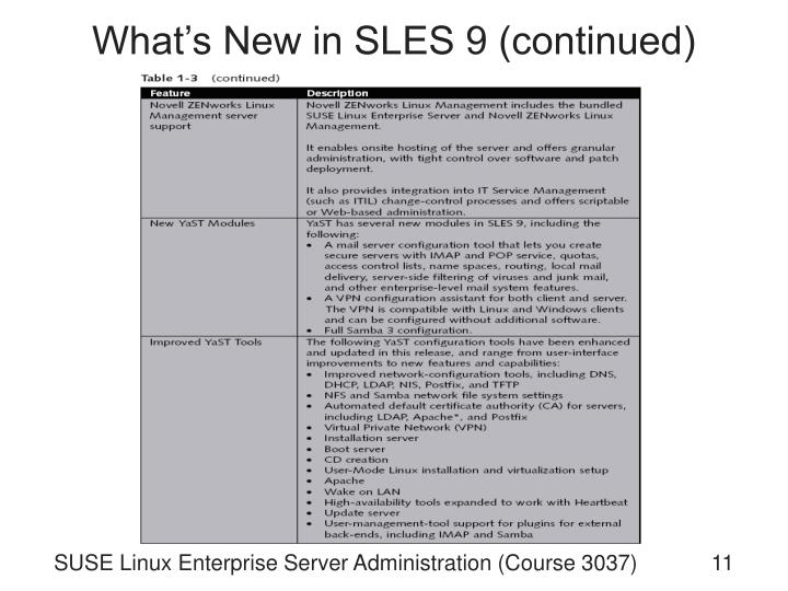 What's New in SLES 9 (continued)