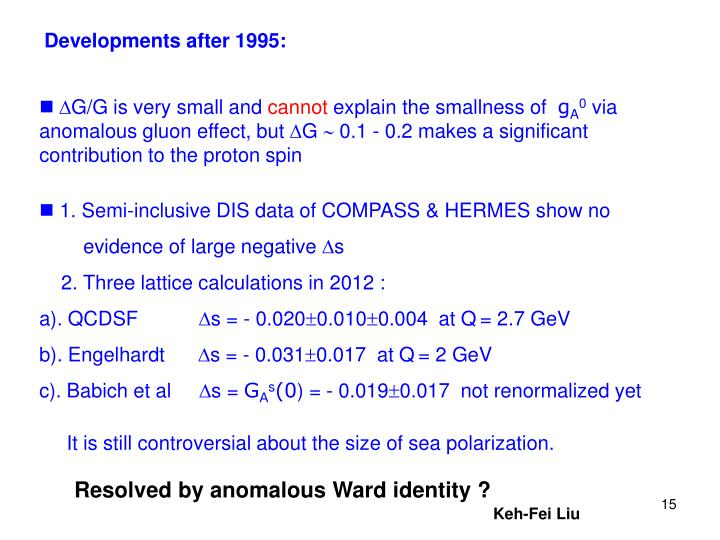 Developments after 1995: