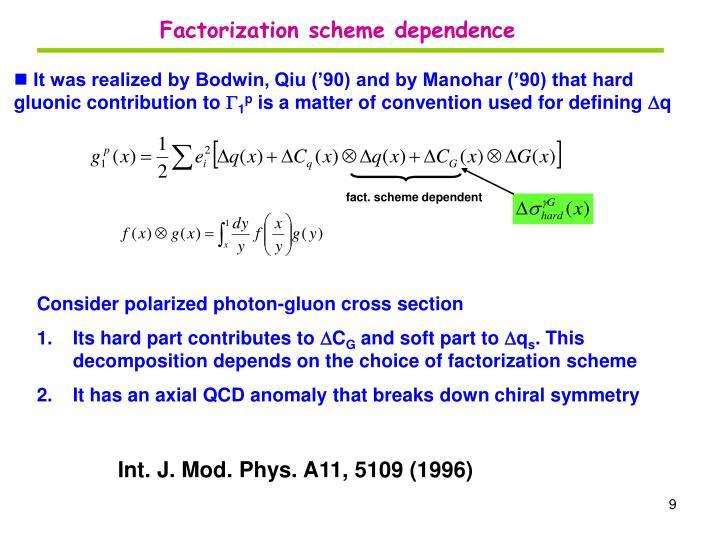 Factorization scheme dependence