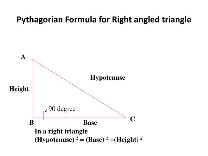 Pythagorian Formula for Right angled triangle