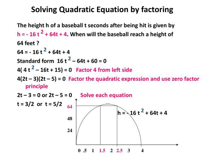 Solving Quadratic Equation by factoring