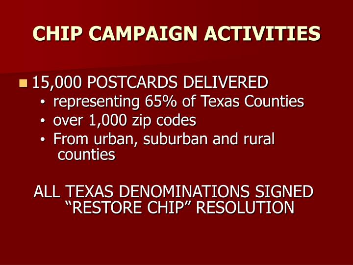 CHIP CAMPAIGN ACTIVITIES