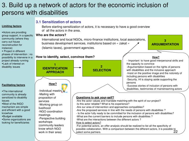 3. Build up a network of actors for the economic inclusion of persons with disabilities