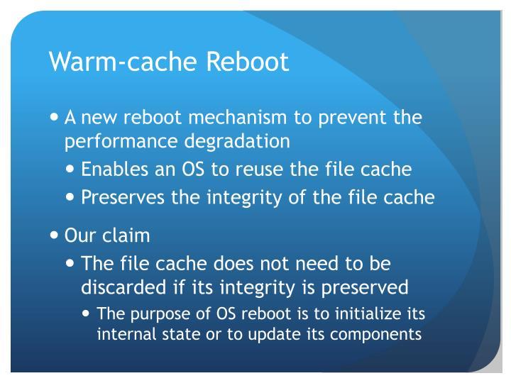 Warm cache reboot