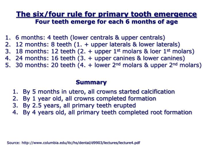 The six/four rule for primary tooth emergence