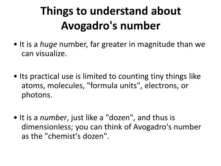 Things to understand about Avogadro's number