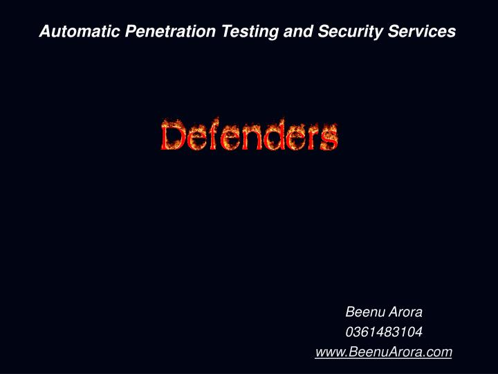 automatic penetration testing and security services n.