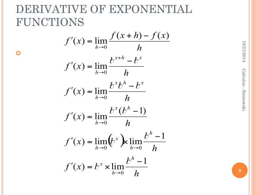 PPT - B.1.6 – DERIVATIVES OF EXPONENTIAL FUNCTIONS ...