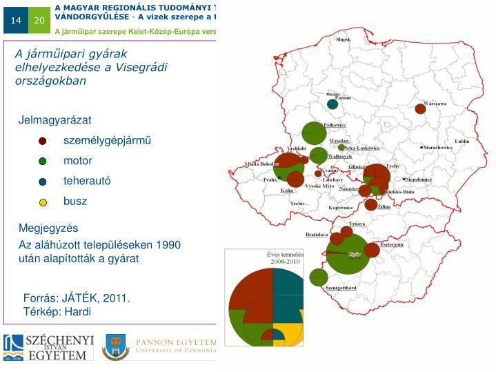 A járműipari gyárak elhelyezkedése a Visegrádi országokban