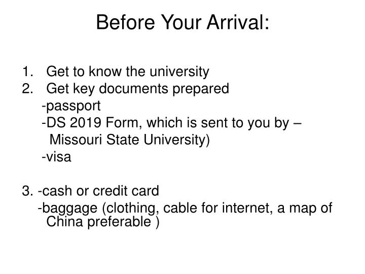 Before your arrival