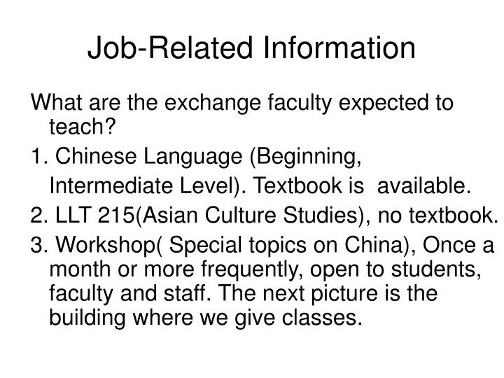 Job-Related Information