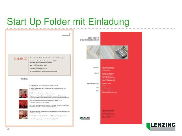 Start Up Folder mit Einladung