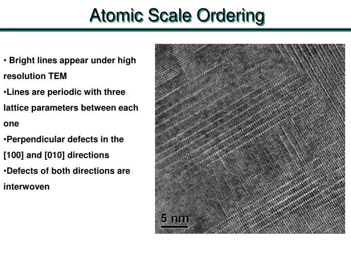 Atomic Scale Ordering