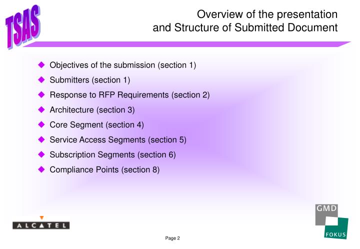 Overview of the presentation and structure of submitted document