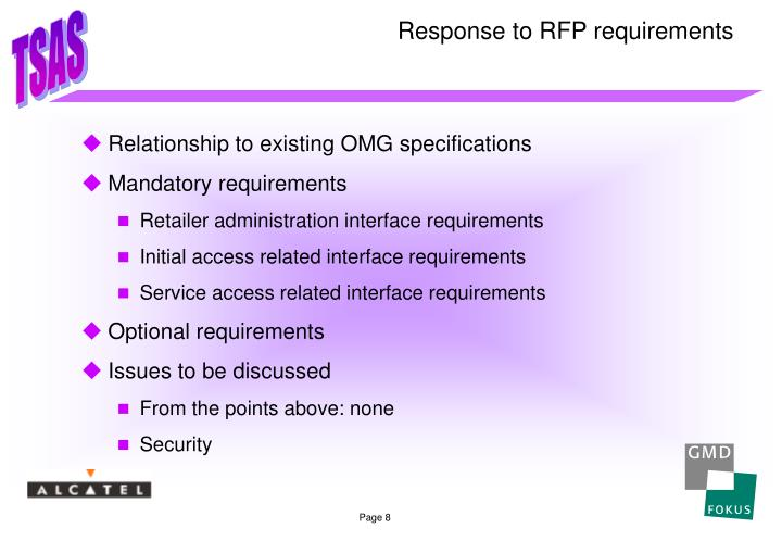 Response to RFP requirements