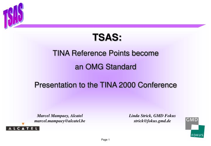 TINA Reference Points become