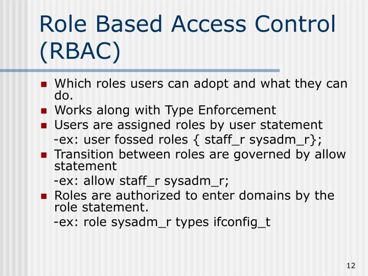 Role Based Access Control (RBAC)