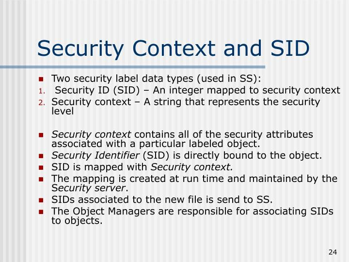 Security Context and SID