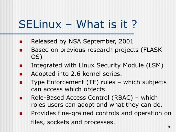 SELinux – What is it ?